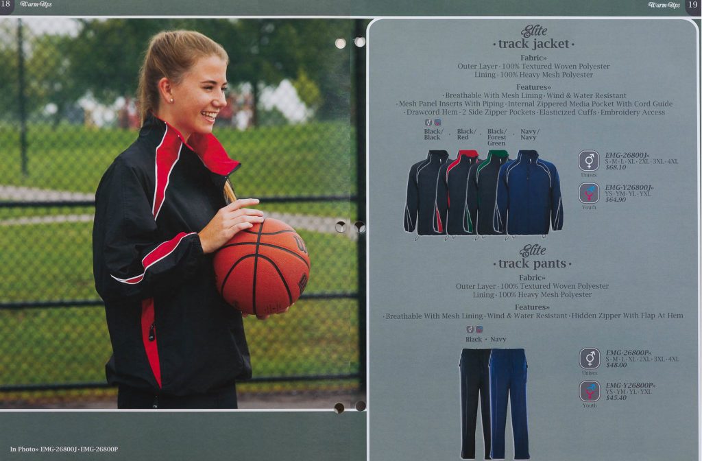 Catalogue Spread - Warm-ups - Young Woman with Basketball and Catalogue off-figure garments