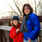 female model and male child modelling fall jackets