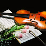 fine art image of violin with sheet music and flowers